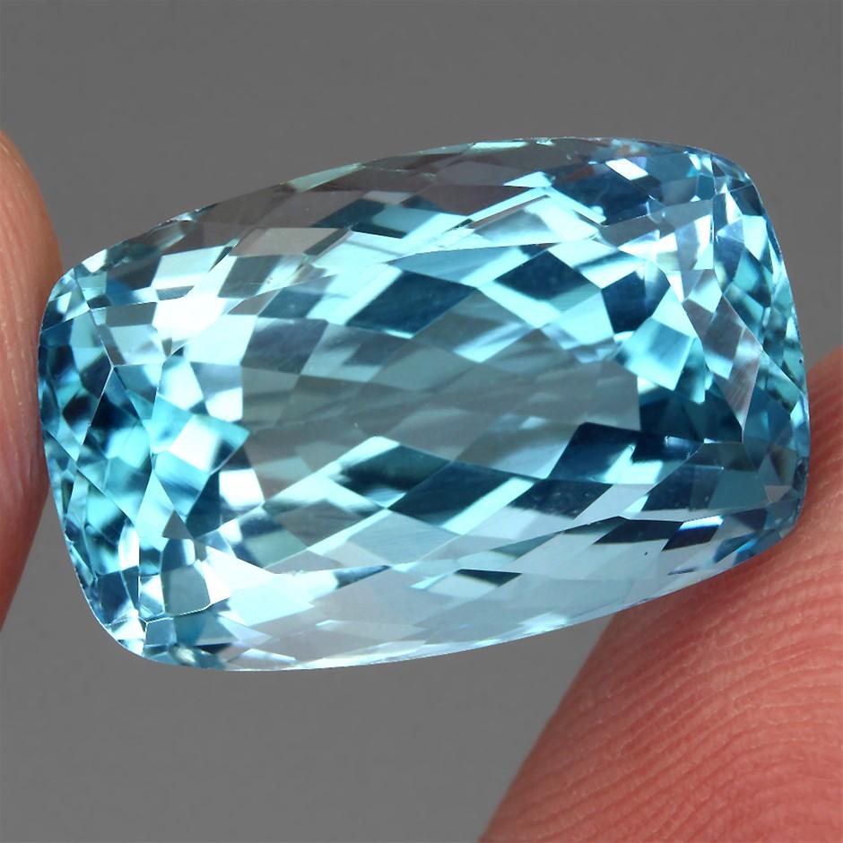 23.50ct. Genuine Antique Facet Internally Flawless Swiss Blue Topaz