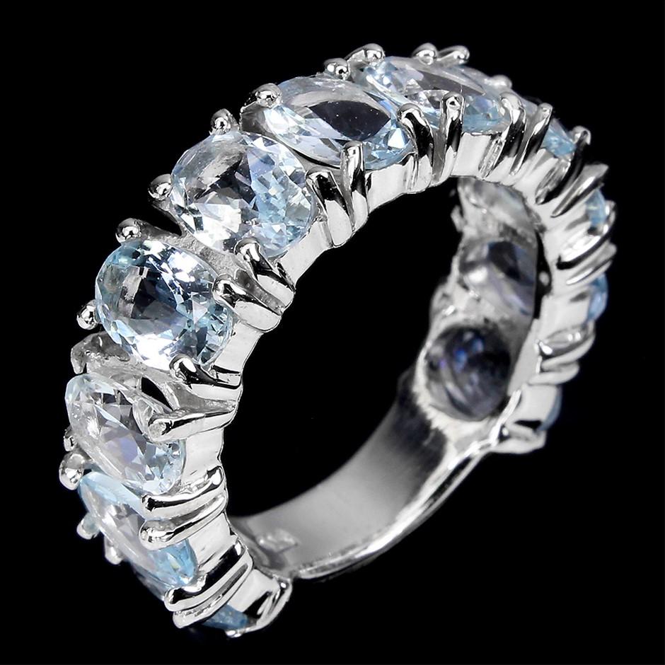 Striking Genuine Aquamarine Eternity Ring Band.