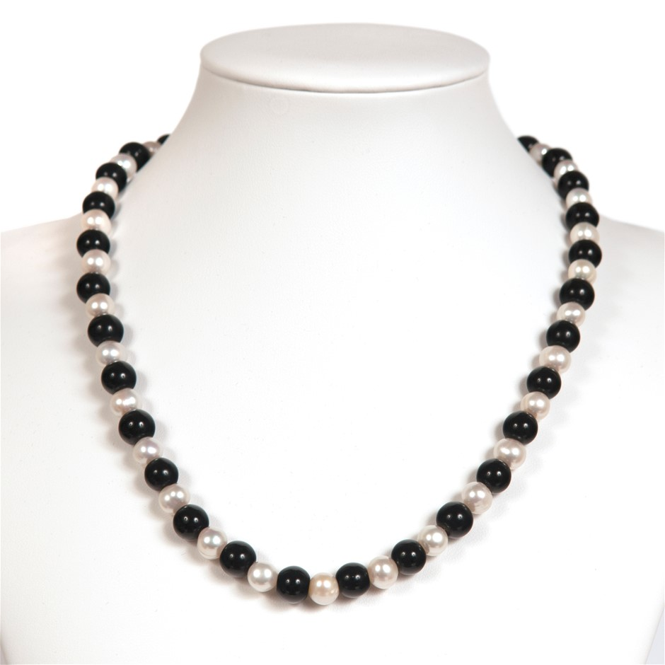 Freshwater White Pearl And Black Agate Sterling Silver Necklace