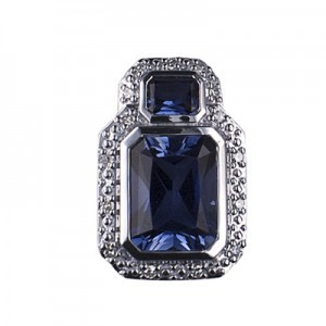 9ct White Gold Created Ceylon Sapphire / Diamond Pendant