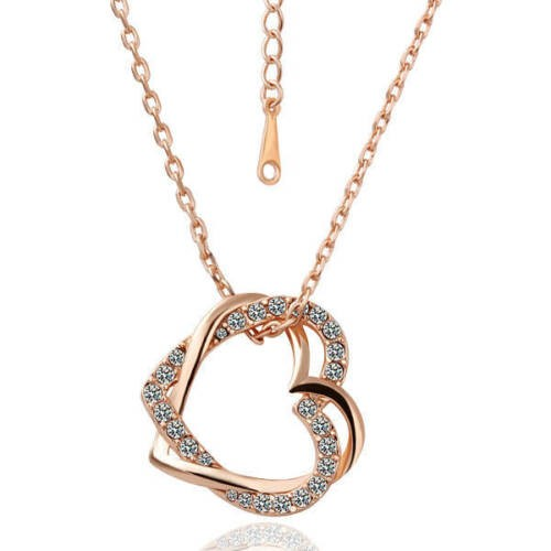 18K Rose Gold Filled Women's Heart Pendant Necklace With Crystal