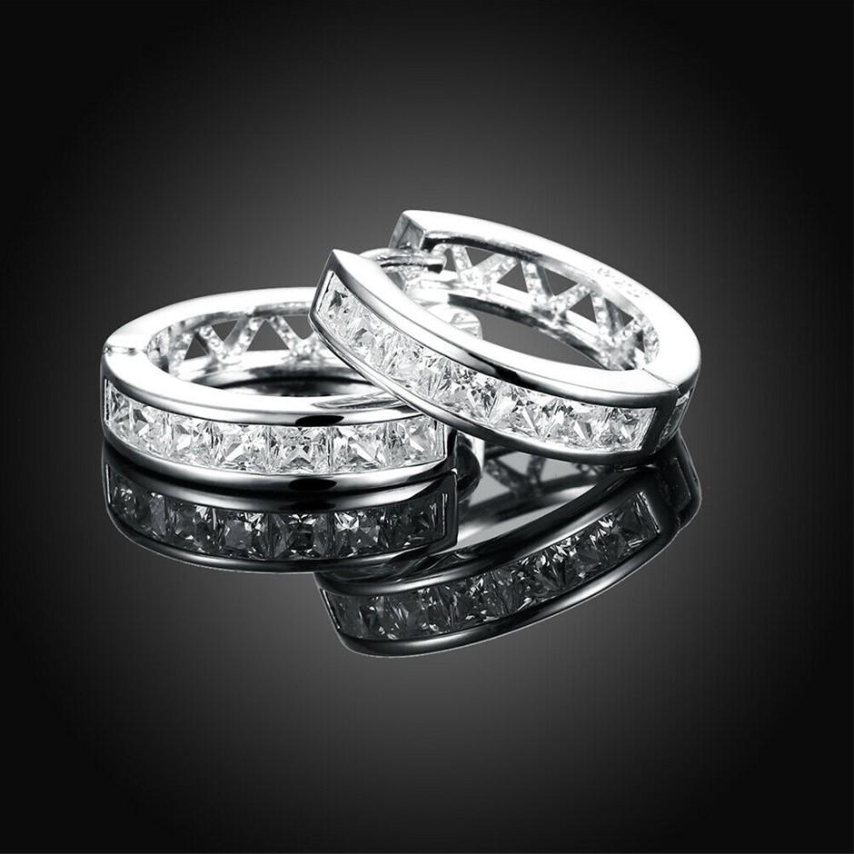 Sterling Silver Filled Clear Crystal Huggie Hoop Earrings Elegant