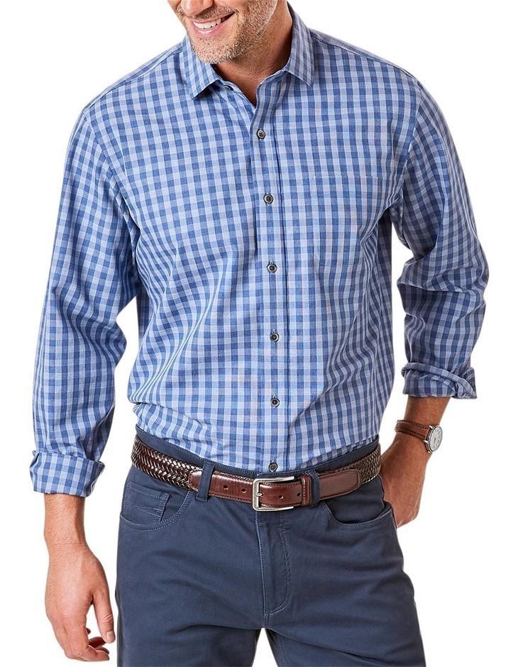 GAZMAN Easy Care Melange Check Shirt. Size S, Colour: Grey Blue. 100% Cotto