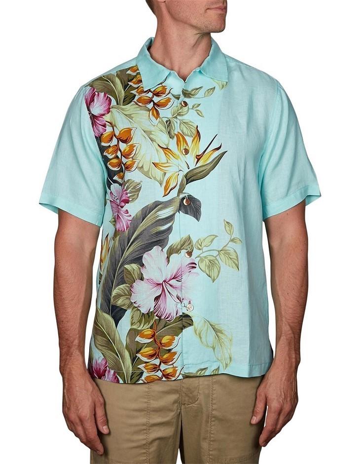 TOMMY BAHAMA Kahuna Cascade. Size L, 100% Linen, Short Sleeve Shirt, Colour