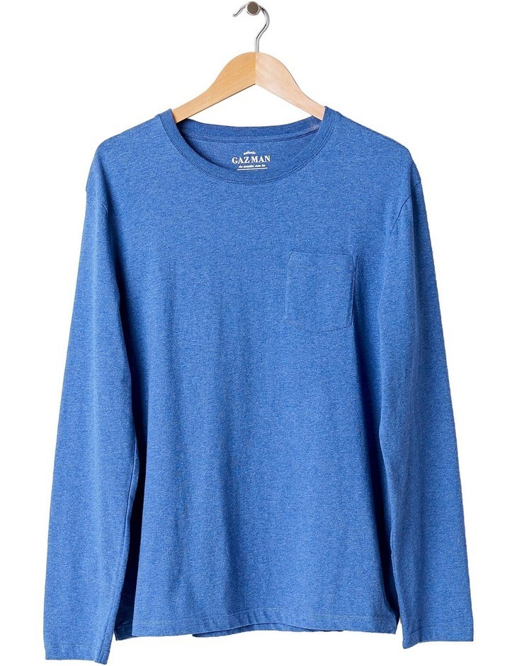 GAZMAN Long Sleeve Pocket Tee. Size XL, Colour: Mariner. 100% Cotton. Buyer