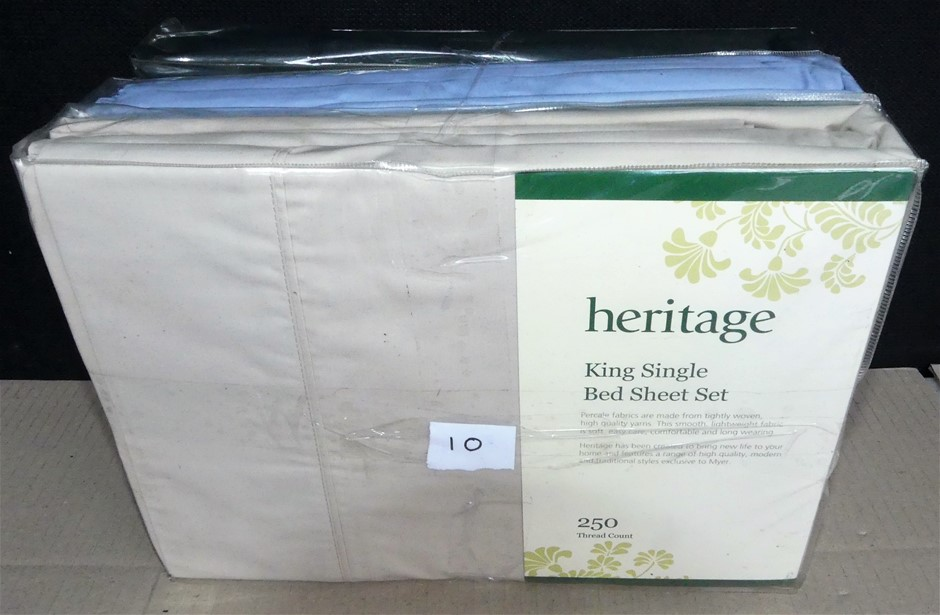 3 x Heritage King Single 250 Thread Count Bed Sheet Set - Total RRP $269.85