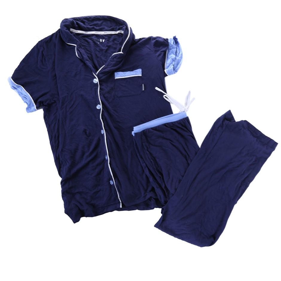DKNY Women`s Sleepwear Set, Size M, Cotton, Navy. N.B. Soiled & Used (SN:CC