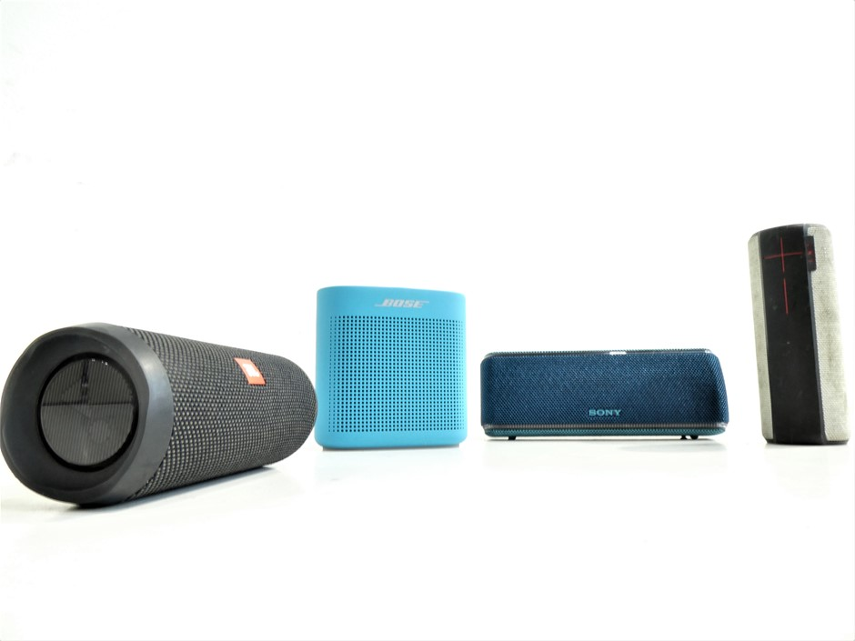 Box of Assorted USED & UNTESTED PORTABLE BLUETOOTH SPEAKERS