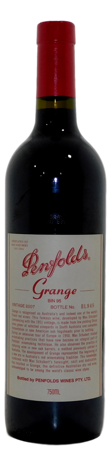 Penfolds Grange Bin 95 Shiraz 2007 (1x 750mL), SA. Cork