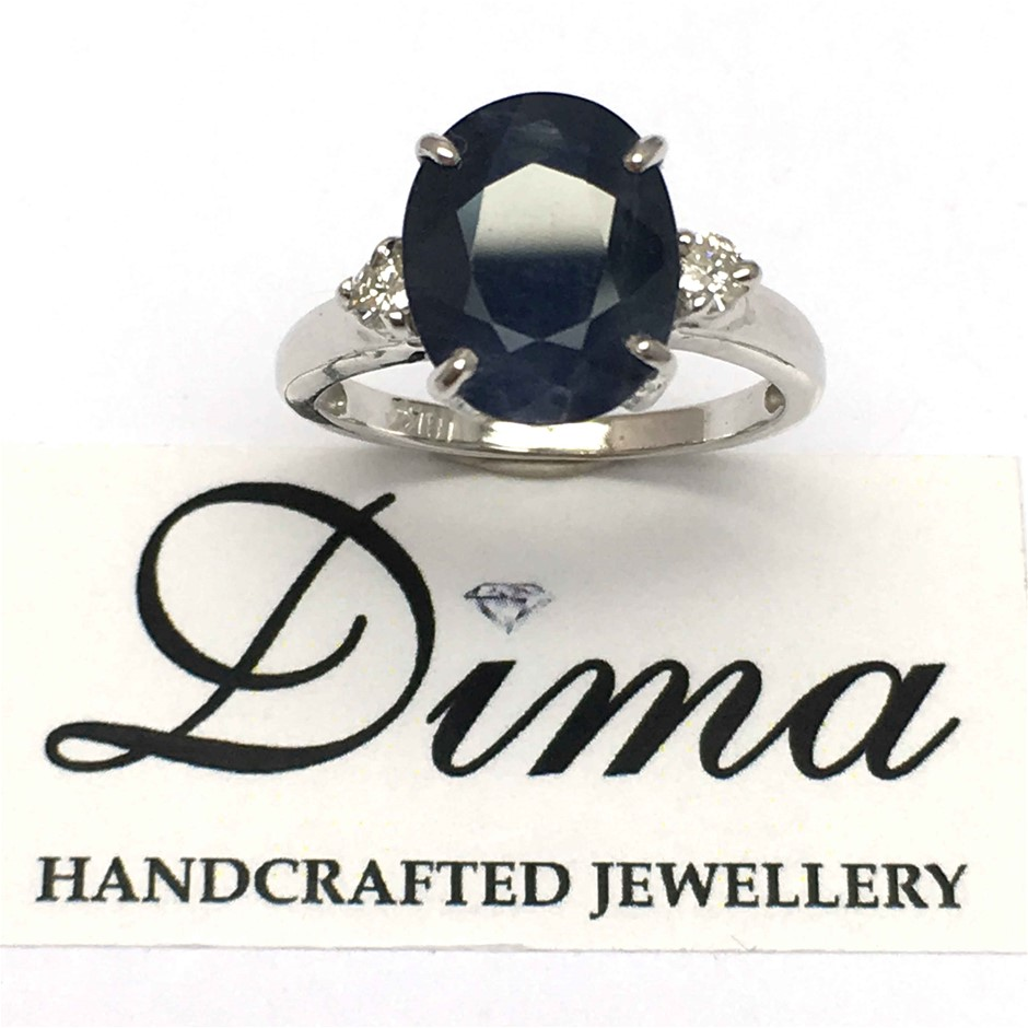 18ct White Gold, 4.74ct Blue Sapphire and Diamond Ring