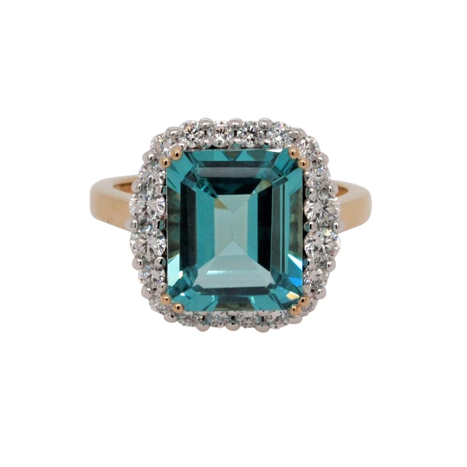 Ladies Yellow Gold Vermeil Paraiba (CR) & White CZ Halo Dress Ring.