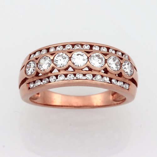 Ladies Pink Gold Vermeil White CZ Dress Ring.
