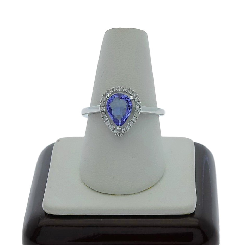 9ct White Gold, 1.08ct Tanzanite and Diamond Ring