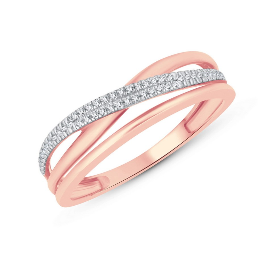 9ct Rose Gold, 0.06ct Diamond Ring