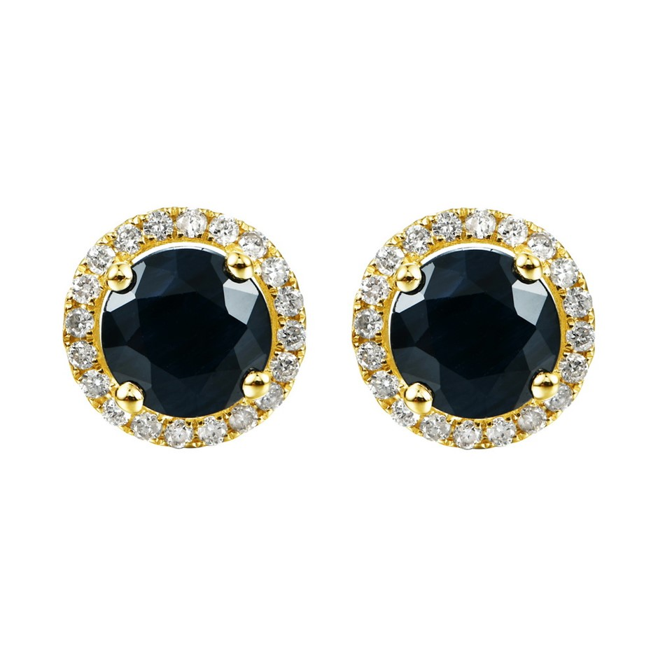 9ct Yellow Gold, 2.50ct Blue Sapphire and Diamond Earring