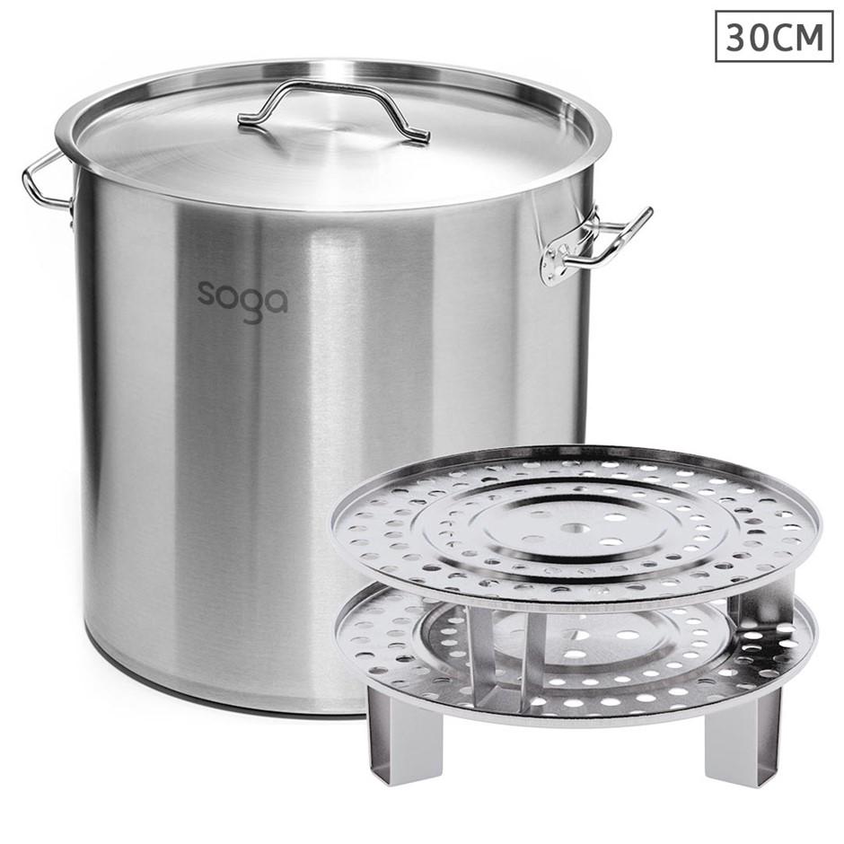SOGA 30cm S/S Stock Pot w/ Two Steamer Rack Insert Stockpot Tray