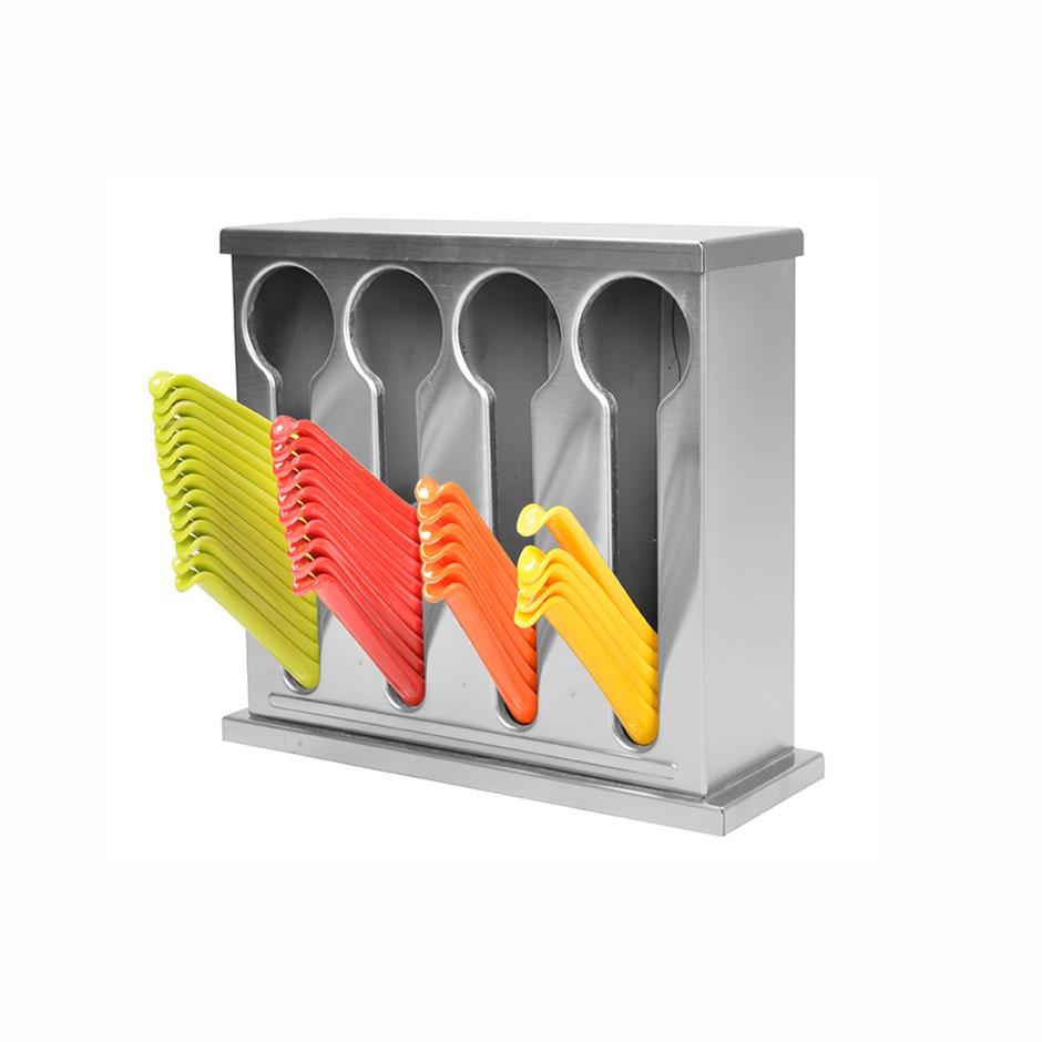 SOGA S/S Buffet Restaurant Spoon Utensil Holder Storage Rack 4 Holes