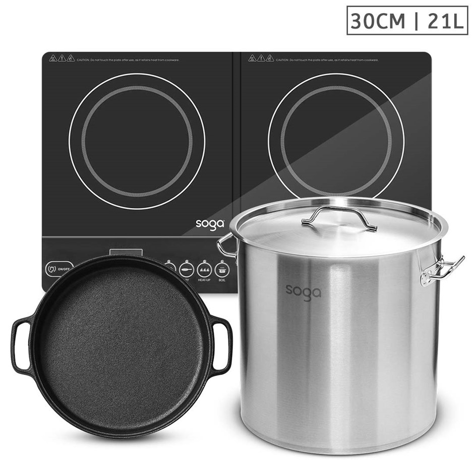 SOGA Dual Burners Cooktop Stove, 30cm Cast Iron Skillet and 21L Stockpot