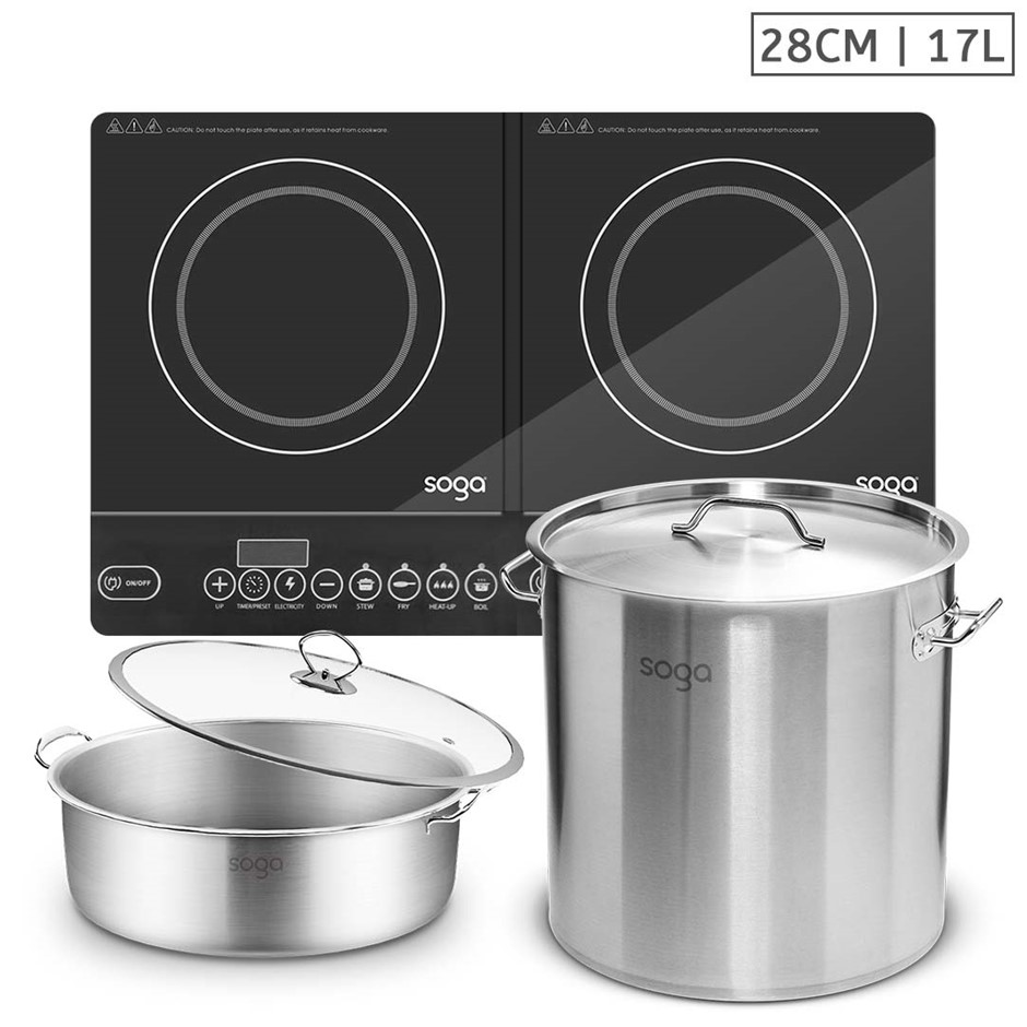SOGA Dual Burners Cooktop Stove, 17L S/S Stockpot, 28cm Induction Casserole