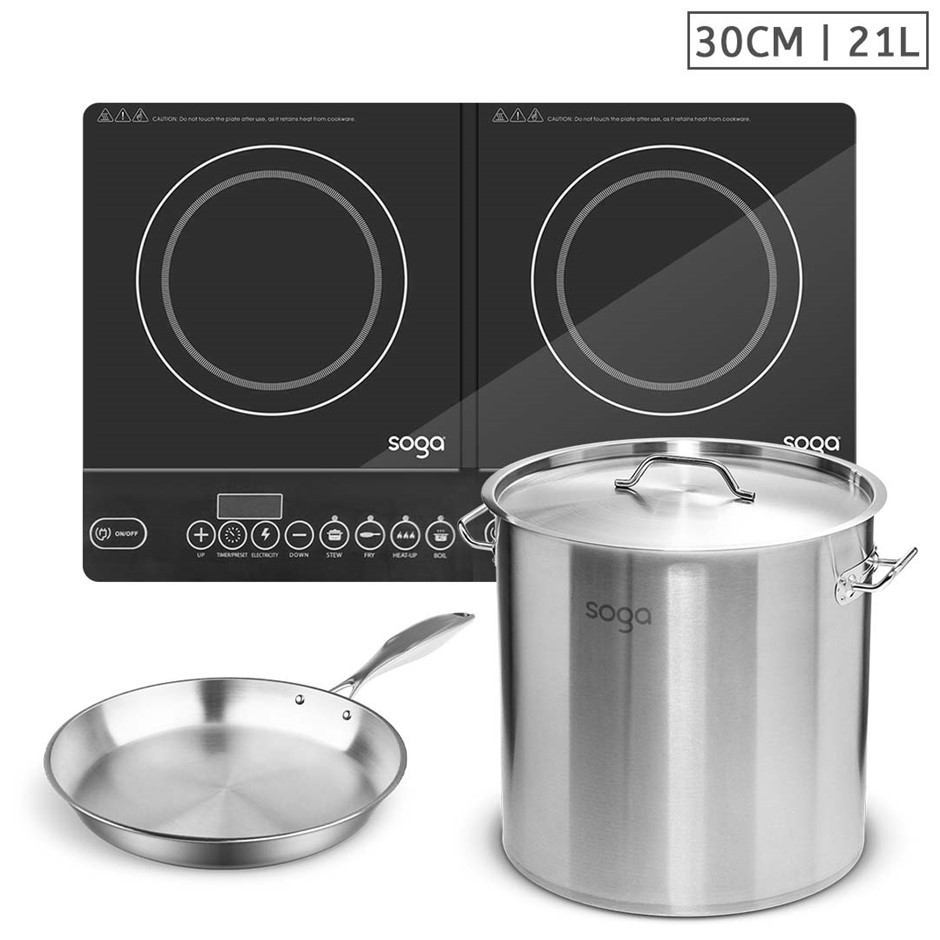 SOGA Dual Burners Cooktop Stove, 21L S/S Stockpot, 30cm Induction Fry Pan