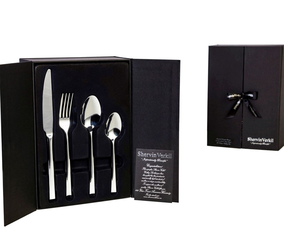 SHERVIN VERKIL Hi-Gauge 18/10 Stainless Steel 32 Piece Gift boxed Cutlery S