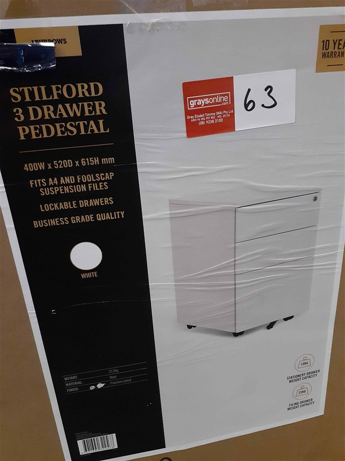 3 x Drawer Filing Cabinet Lockable