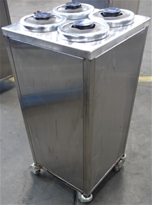 Mobile Stainless Steel Square 4 Bay Cup