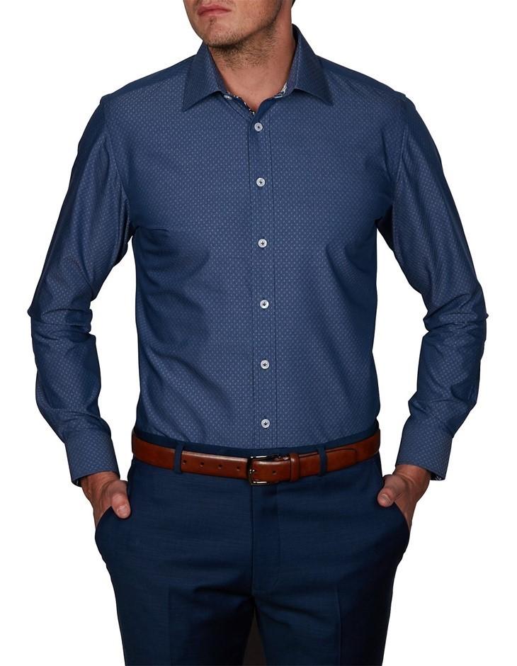 ABELARD Domegge Denim Dobby Shirt. Size L, Colour: Indigo. 100% Cotton. Buy