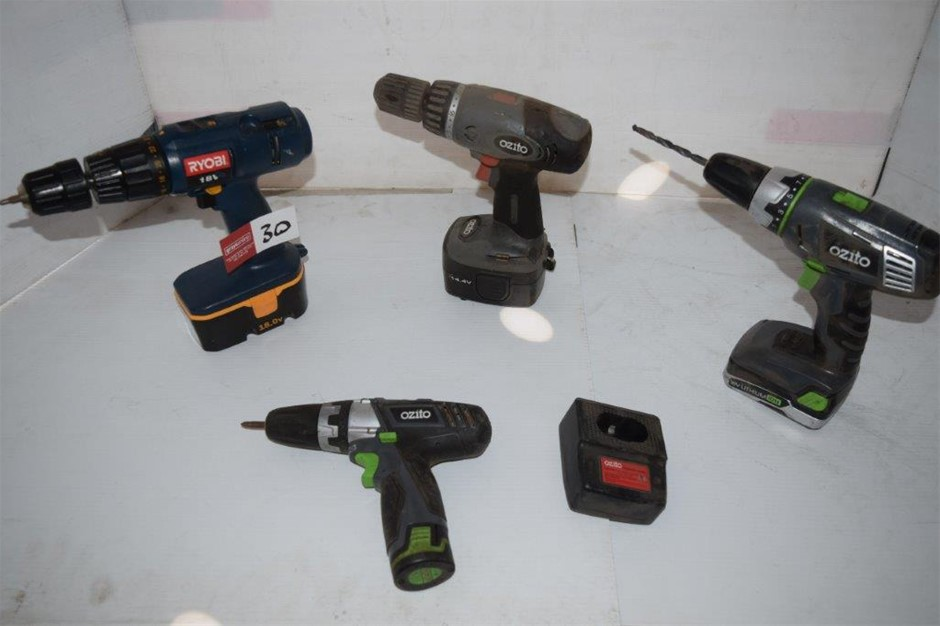 Lot of 4 Assorted Cordless Drills