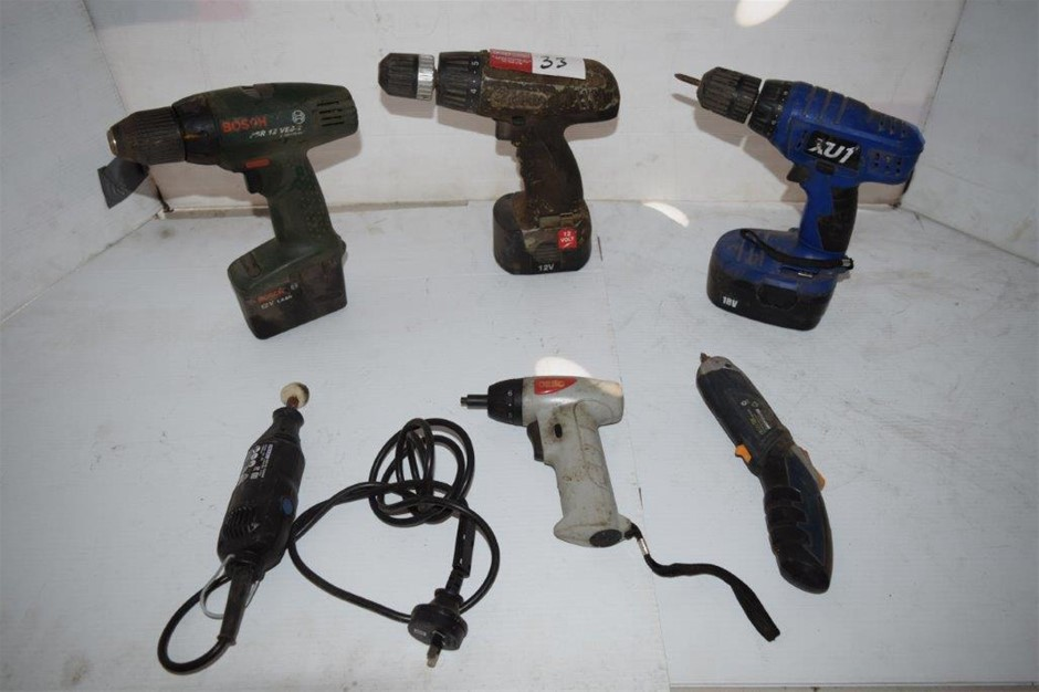 Lot of 6 Assorted Cordless Power Tools