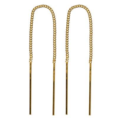 Genuine 9karrat yellow Gold Italian Thread Earrings