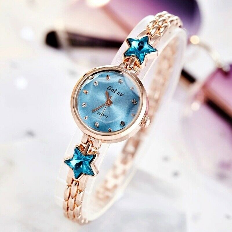 Luxury Stylish Rose Gold Crystal Round Blue Face Star Watch