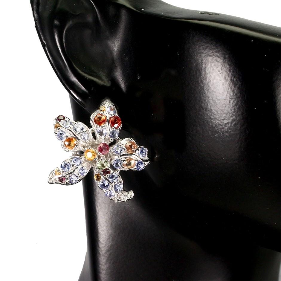 Genuine Tanzanite, Sapphire & Garnet Starfish Stud earrings