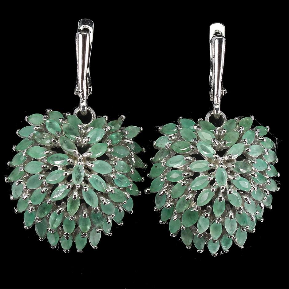 Striking Genuine Emerald Drop Earrings