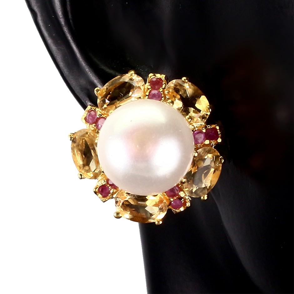 Delightful Genuine Ruby Pearl & Citrine Earrings.