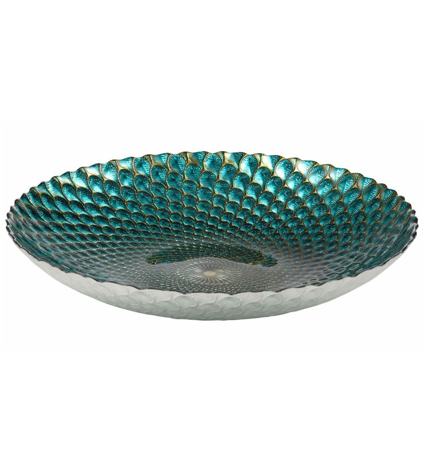 AMALFI ``Anya`` Glassware ``Plume`` Teal & Gold Large Platter, 40cm, Made i