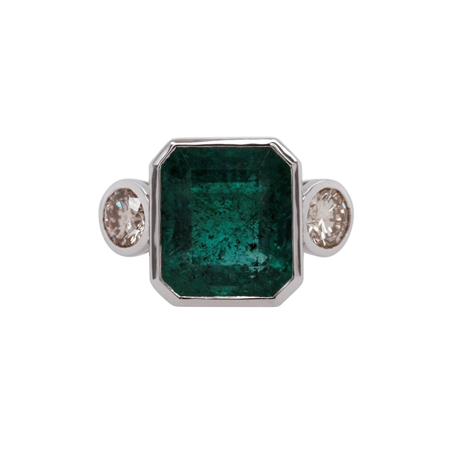 18ct White Gold, 10.23ct Emerald and Diamond Ring