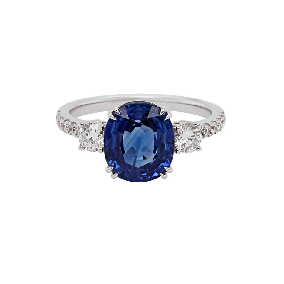 18ct White Gold, 4.47ct Blue Sapphire and Diaond Ring