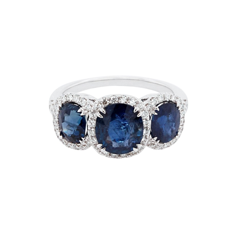 18ct White Gold, 4.30ct Blue Sapphire and Diamond Ring