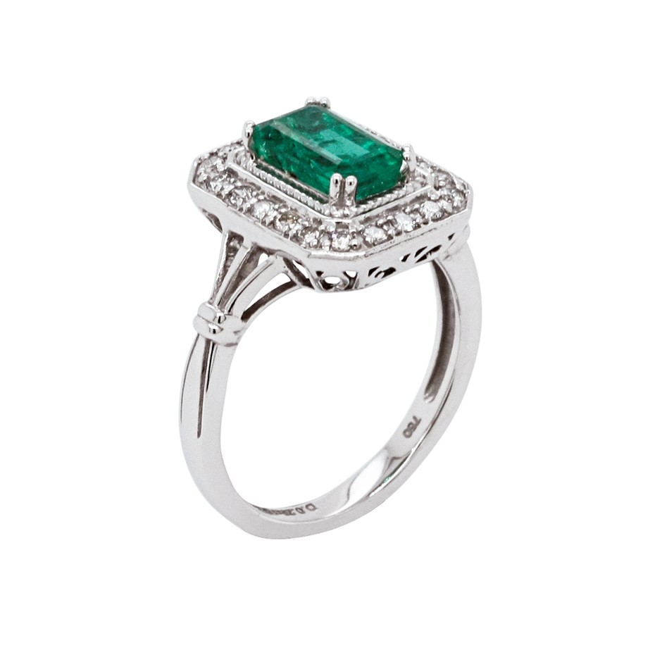 18ct White Gold, 2.05ct Emerald and Diamond Ring