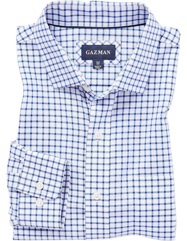 GAZMAN Easy Care Check Shirt. Size XXL, Colour: Blue. 100% Cotton. Buyers N