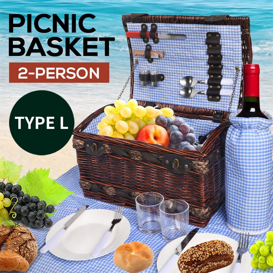 2 Person Picnic Basket Baskets Set Outdoor Blanket Deluxe Willow Storage