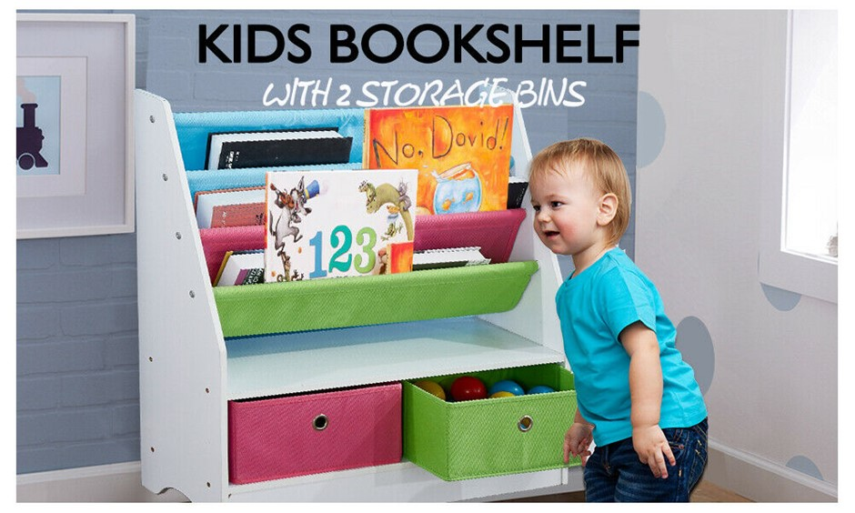 Levede Wooden Kids Children Bookcase Bookshelf Toy Organiser Bin Rack