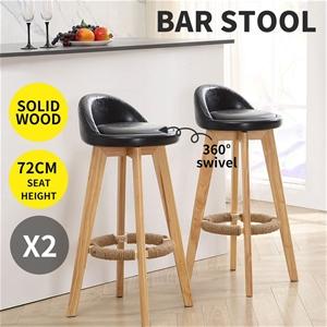2x Bar Stools Swivel Stool Kitchen Woode