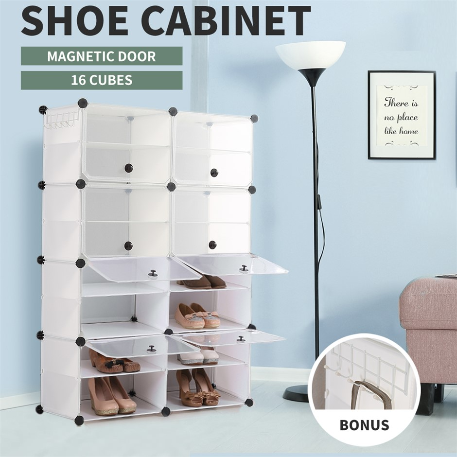 Cube Cabinet DIY Shoe Storage Cabinet Organiser Rack Shelf Stackable 8 Tier