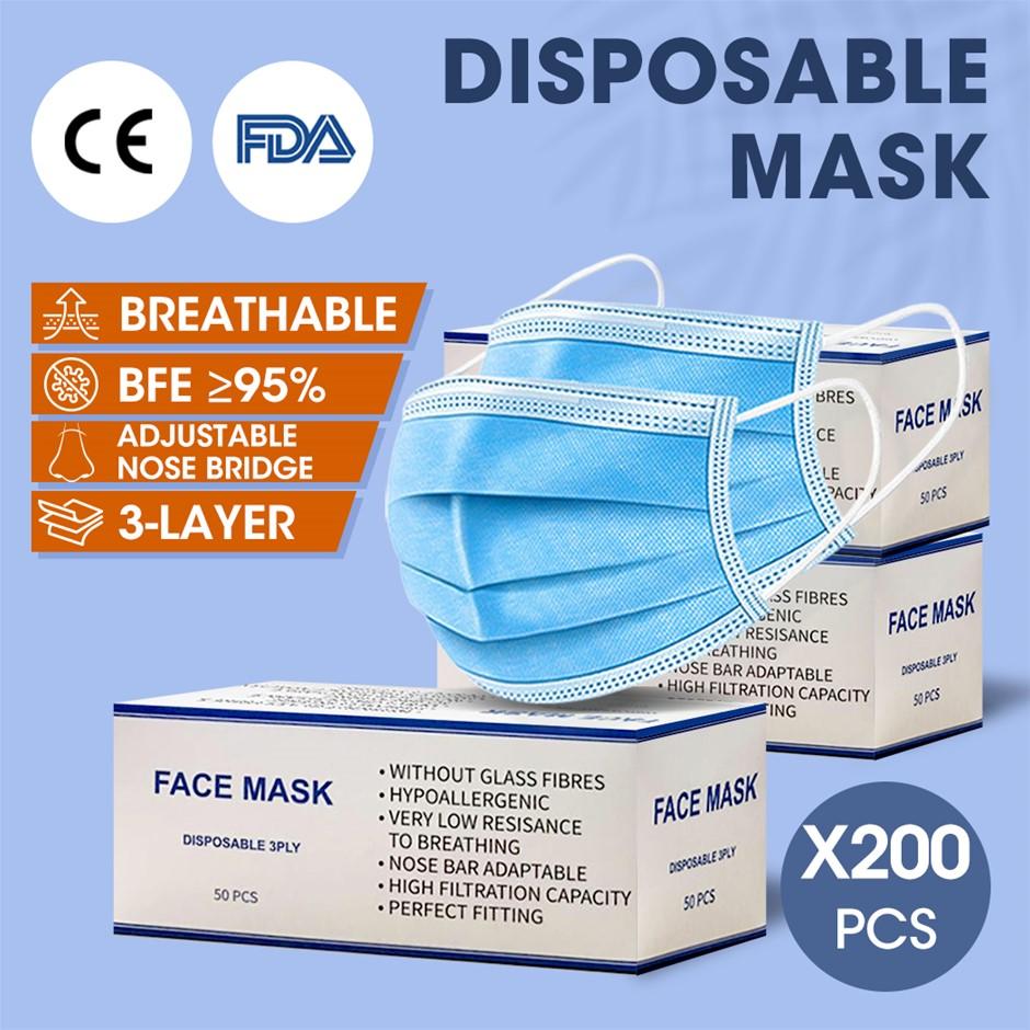 200pcs Disposable Mask Face Masks Filter Anti PM2.5 Dust Respirator 3 Layer