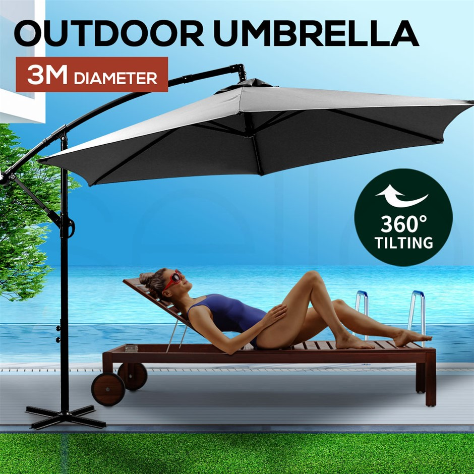 3M Outdoor Umbrella Cantilever Cover Garden Patio Beach Umbrellas Crank