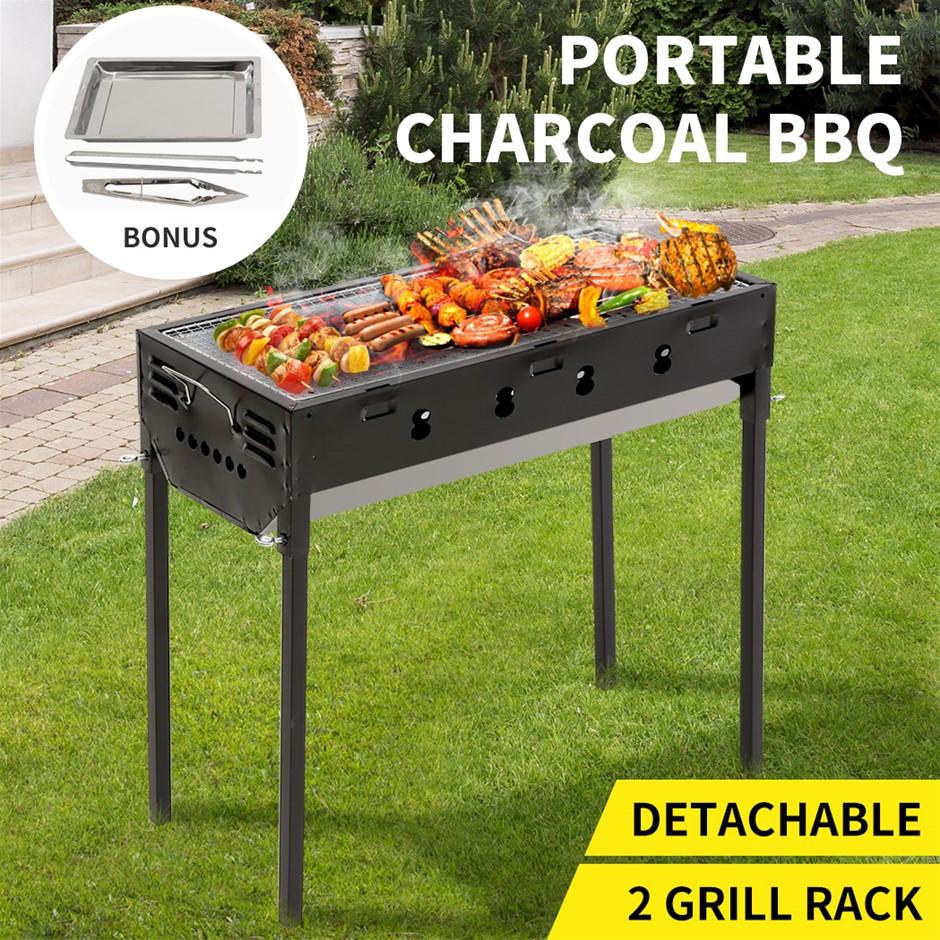 Charcoal BBQ Grill Protable Hibachi Barbecue Set Camping Picnic Grills