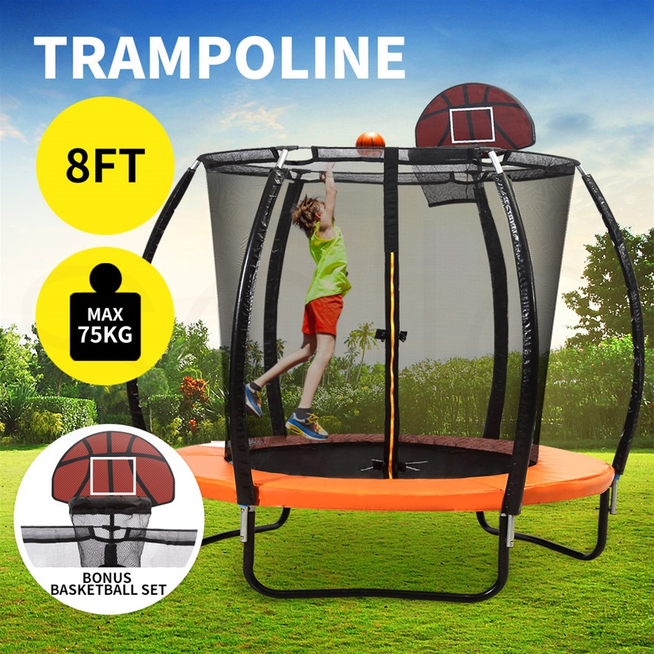 Trampoline Round Trampolines Basketball Kids Enclosure Safety Net 8FT