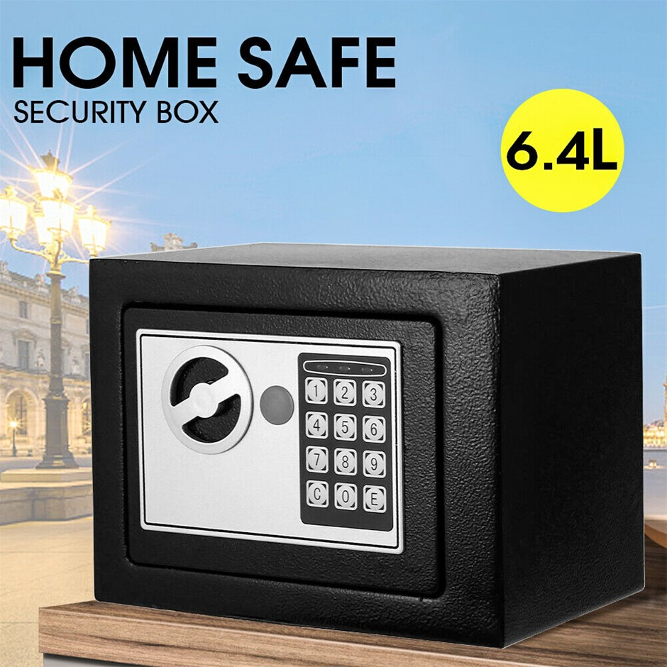 Digital Safe Electronic Security Box Home Cash Lock Deposit Password 6.4L
